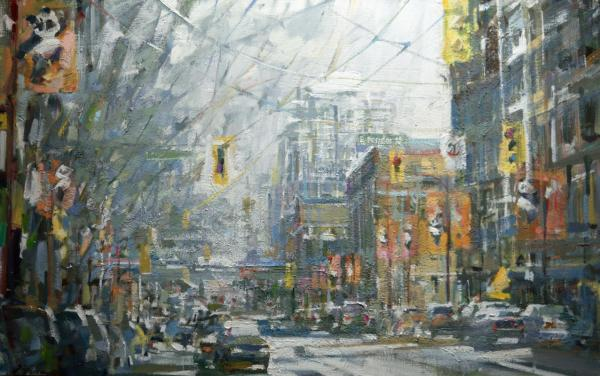Christie oil painting of busy urban street in the middle of winter
