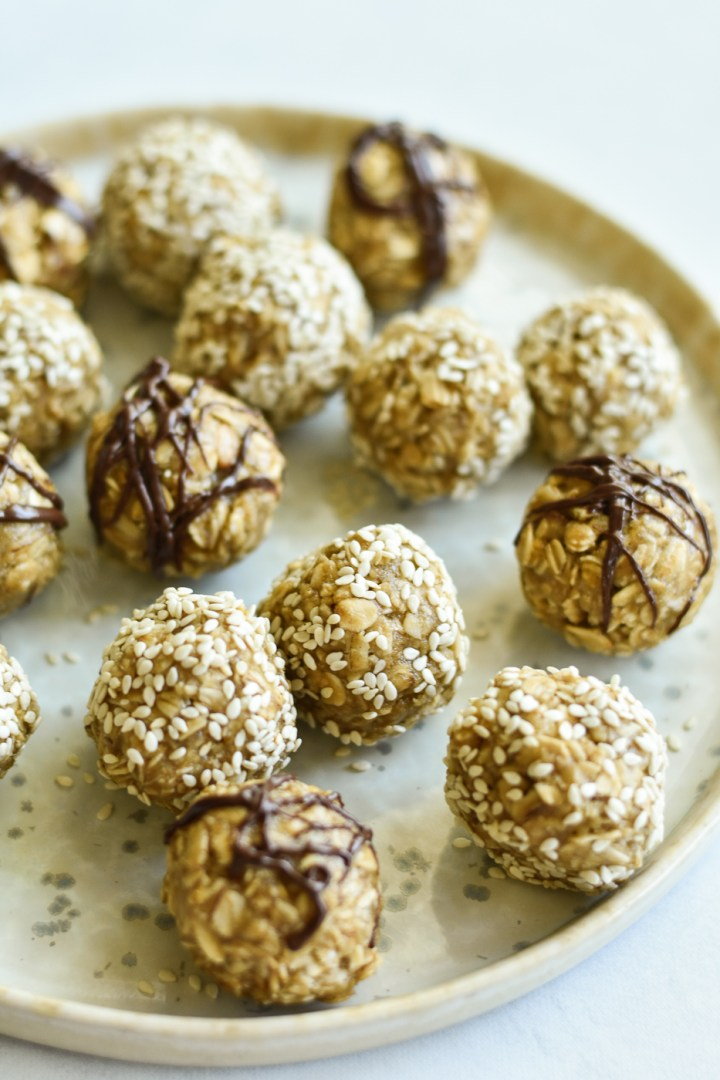 plate of maple tahini snack balls
