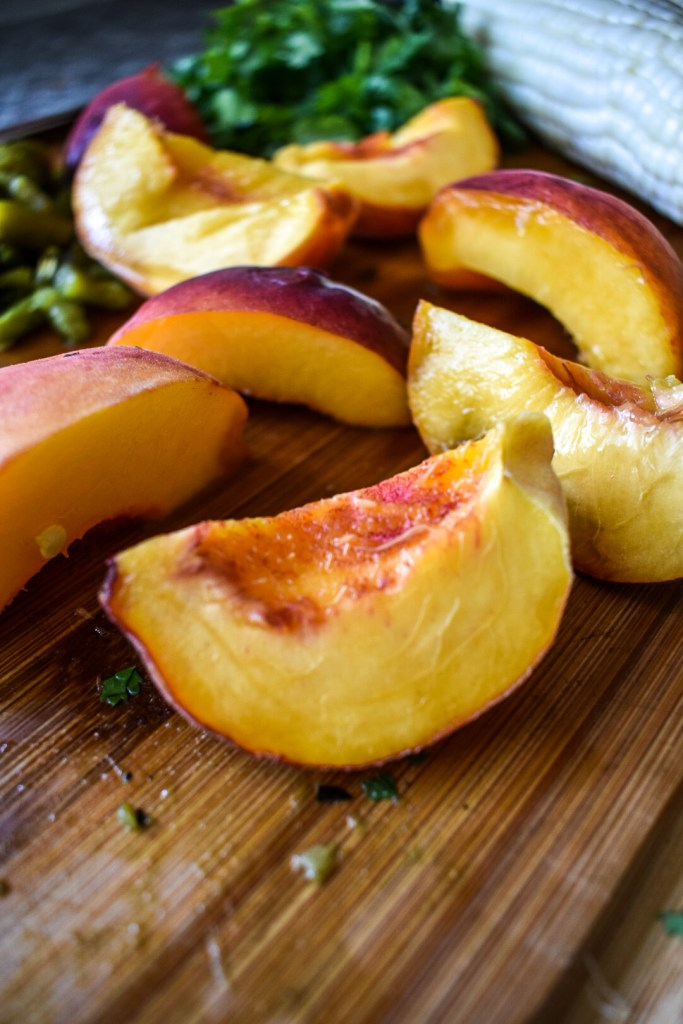 palisade peaches on cutting board