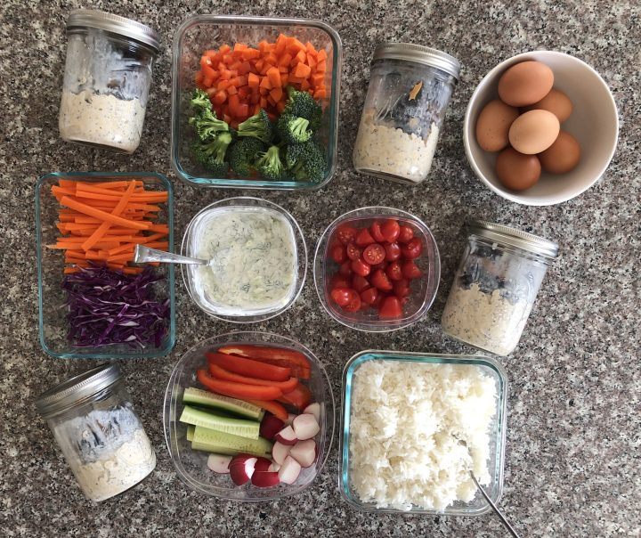 vegetarian meal prep on counter