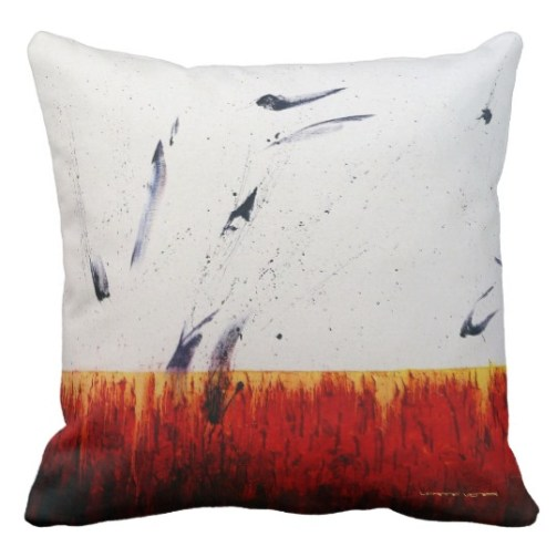 "Designer 2-sided Pillow - Side A, RED, ""Passions Flurry"""