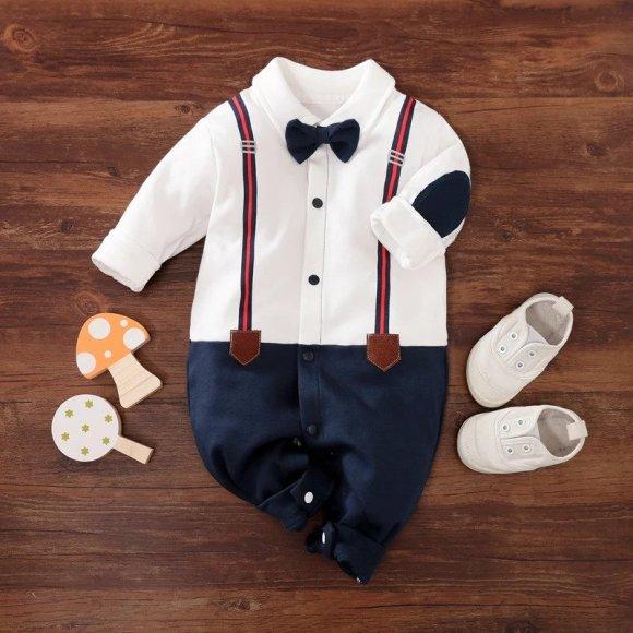 Baby Gentleman Bow Tie Long-sleeve Jumpsuits
