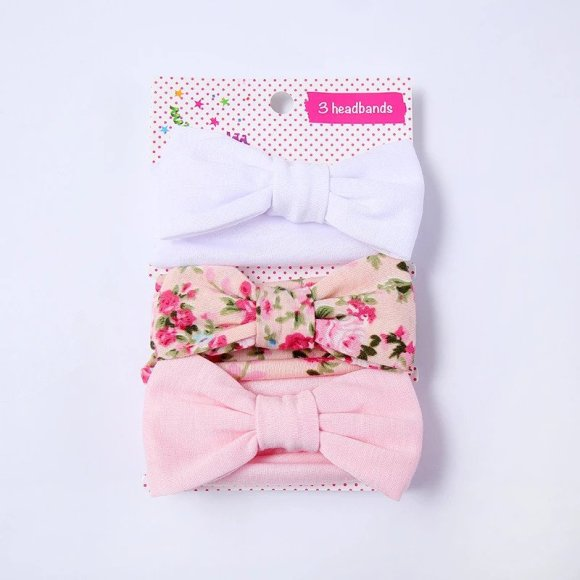 3-piece Baby / Toddlers Lovely Solid Polka Dots Floral Allover Combined Stretchy Headband