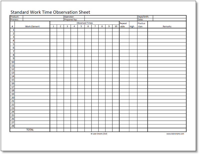 Standard Work Time Observation Sheet Template