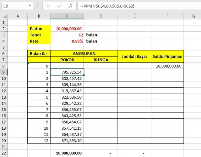 Fungsi PPMT Angsuran Pinjaman Koperasi 02