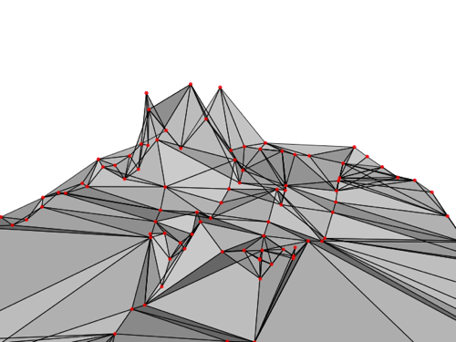 An early Processing sketch attempting to generate a shape from the data