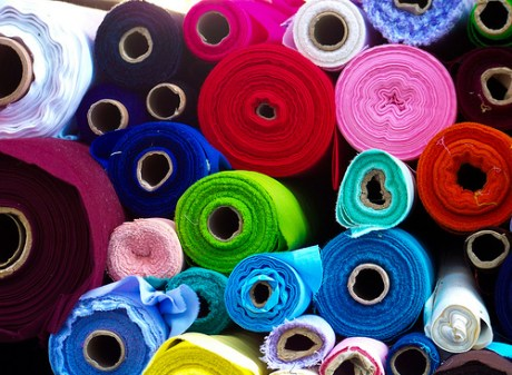 Bolts of Multicolored Fabrics