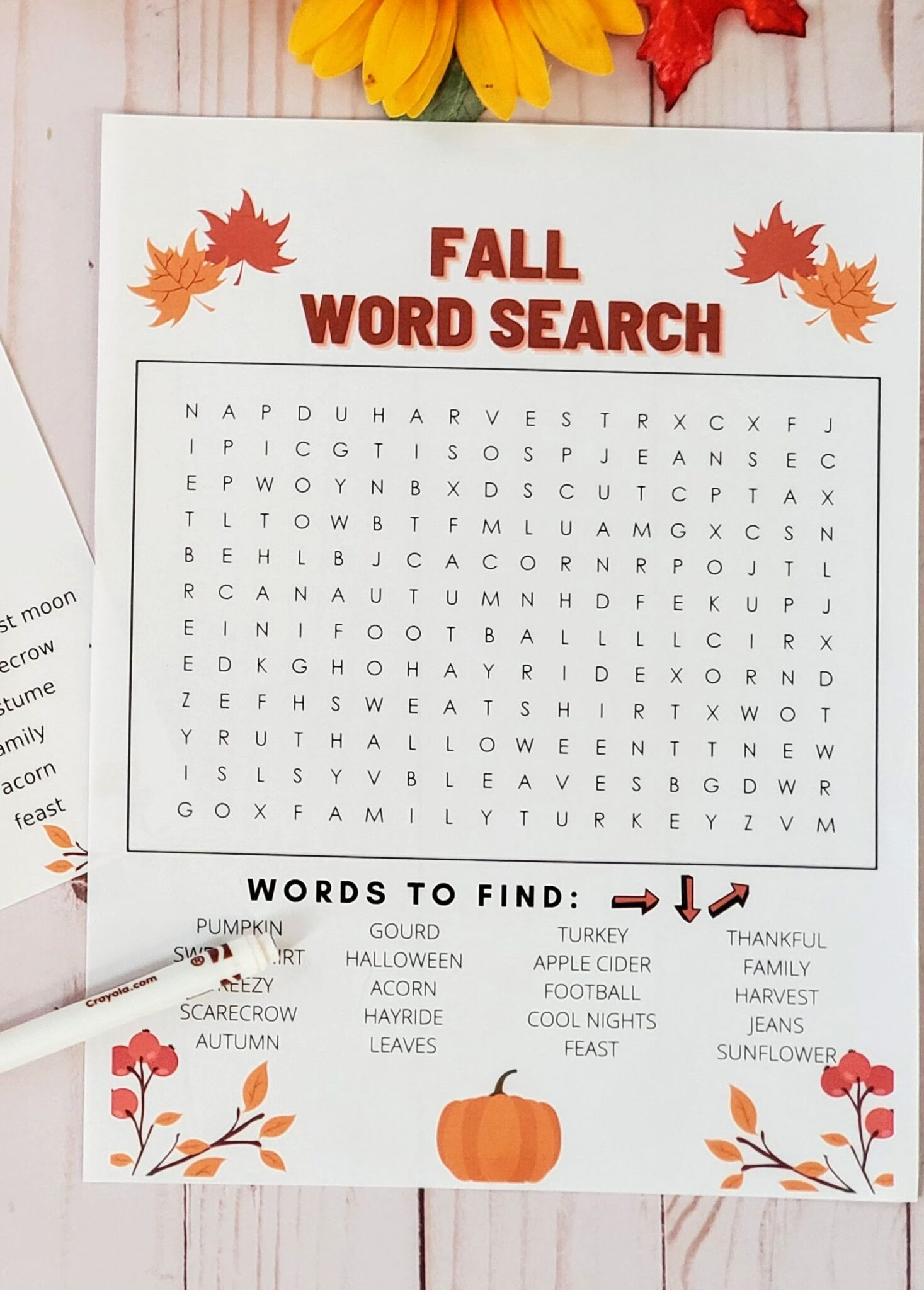 Fall Word Search Two Free Printable Word Search To