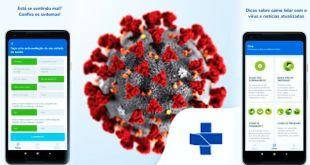 Imagem do coronavírus com o símbolo do ministério da saúde e duas telas do aplicativo sobre o coronavírus