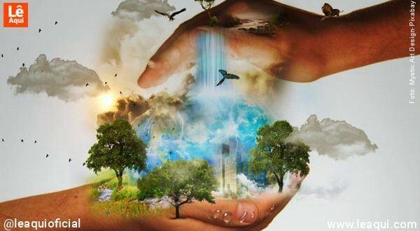 Mãos protegendo a flora e a fauna no dia da terra