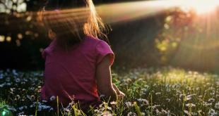 Moça sentada em um campo com flores coloridas meditando e recebendo um facho de luz solar representando energia espiritual