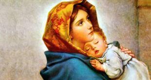 ilustração de nossa senhora segurando menino Jesus no colo para ilustrar Dia Mães Santa Maria