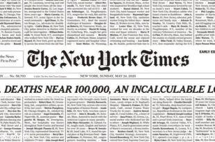 reprodução da primeira página do the new york times com nome de 100000 vítimas da pandemia perda incalculável