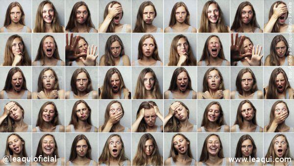 várias fotos de uma mulher cada uma expressando uma emoção para exemplificar que emoções são energias