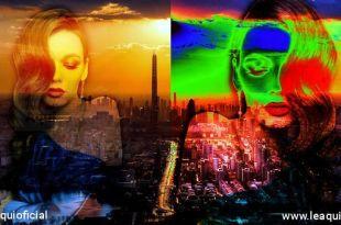 retrato de uma megalópolis com a montagem fotográfica de dois rostos feminino com uma divisão ser feliz num mundo dividido