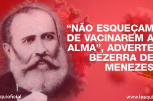 montagem fotográfica com uma ilustração do coronavírus uma seringa de vacina e sobrepondo essa ilustração de tom vermelho uma ilustração de Bezerra de Menezes vacinarem a alma