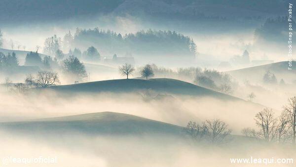 vista de um campo ao amanhecer com a neblina envolvendo colinas e arvores dia brancamente nublado