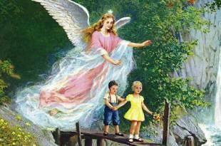 reprodução de ilustração de um anjo da guarda protegendo 2 crianças que atravessam uma ponte anjos guardiões