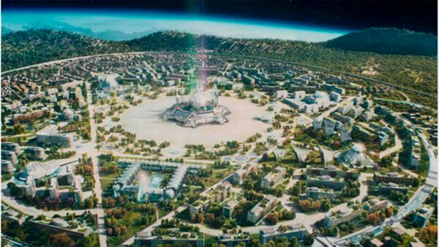 ilustração de uma vista aérea da cidade espiritual Nosso Lar Nosso Lar fundada por portugueses