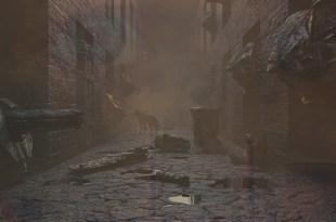 imagem de um beco escuro abandonado carregado de energia negativa e espíritos veem cidade