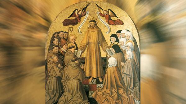 pintura renascentista com São Francisco no centro da imagem palestrando aos seus irmãos e seguidores amor de São Francisco