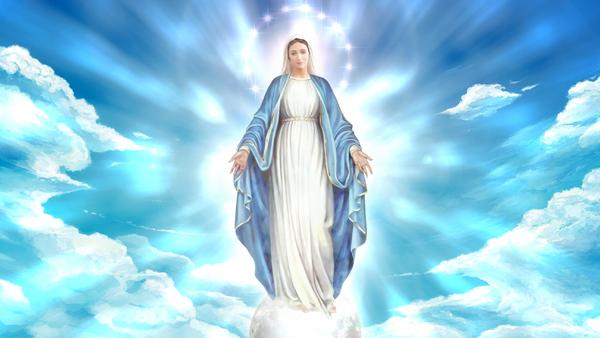 imagem icônica de Nossa Senhora sob as nuvens nos abençoando com as mãos Virgem Maria presente na pandemia