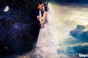 idílica imagem de um casal com roupas de casamento não sabe amar