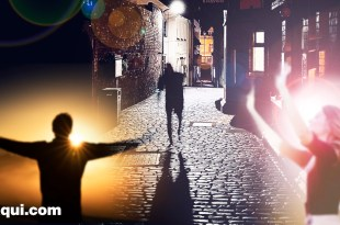 rua escura com um espírito das sombras sendo amparado por dois espíritos de luz bom ambiente espiritual
