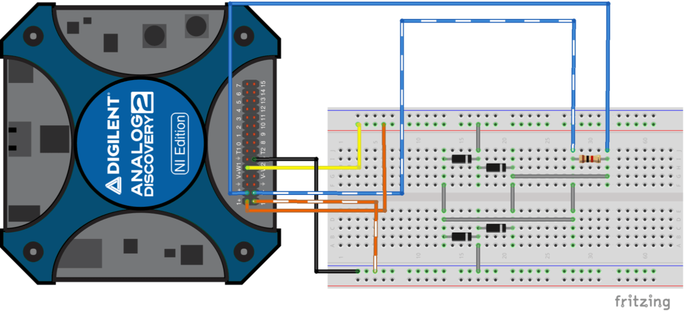hight resolution of full wave bridge rectifier circuit connected to analog discovery 2