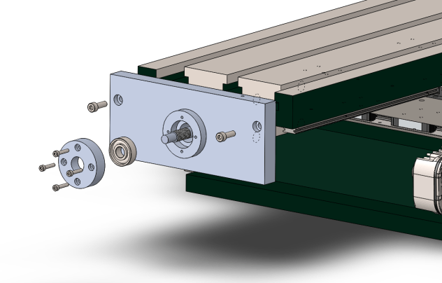 Exploded View of X Axis on G0704 - Free End