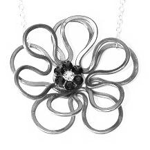 Anemone Necklace Black and White Main