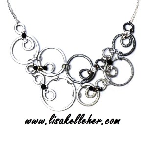 Bubbles Necklace Mixed - Silver, Charcoal, Midnight Main