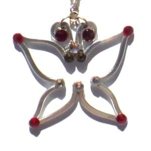 Butterfly Pendant Silver Ruby Main