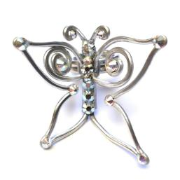 Butterfly Ring Silver Crystal Iridescent