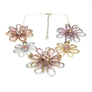 Daisy Chain Circlet Mixed Gold - White, Yellow and Rose