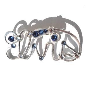 Elvis Brooch Silver Blue Morpho
