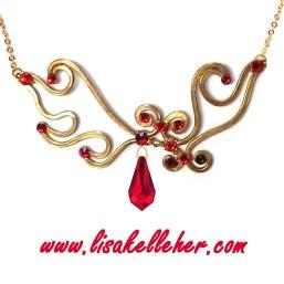 Phoenix Flames Necklace Gold Main