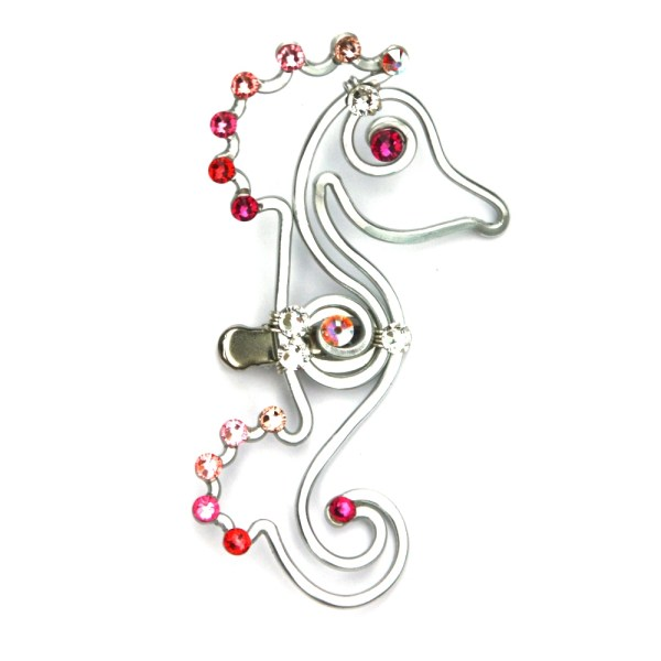 Seahorse Hair Clip Silver Soft Pink Ombre