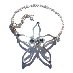 Starfish Anklet Silver Sea Blue