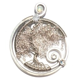Tree of Life Weeping Willow Swirling River Silver Moonlight
