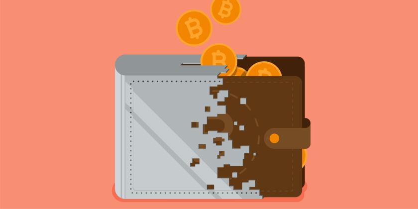 crypto wallet and leather wallet hybrid image with coins coming out of it and mango background
