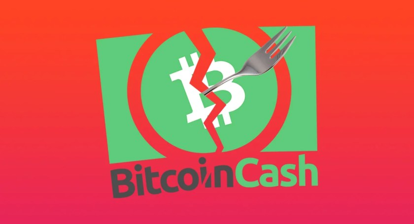 Bitcoin Cash logo with fork splitting down the middle with red background