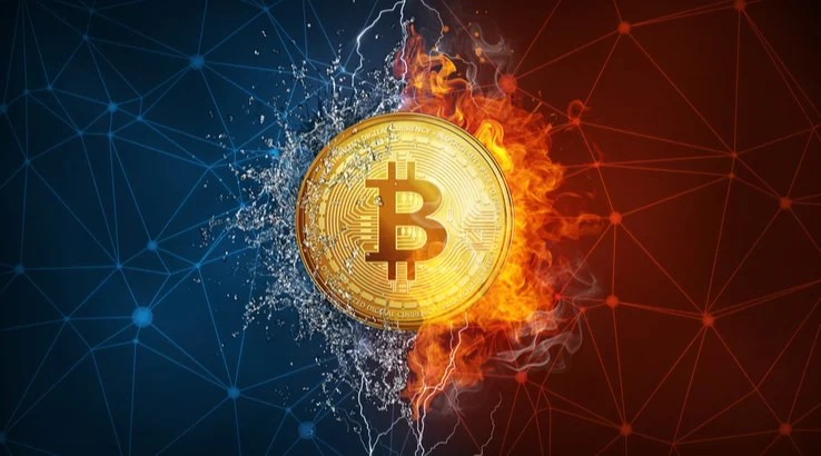 A split of fire and water with bitcoin in the middle with blockchain graphics