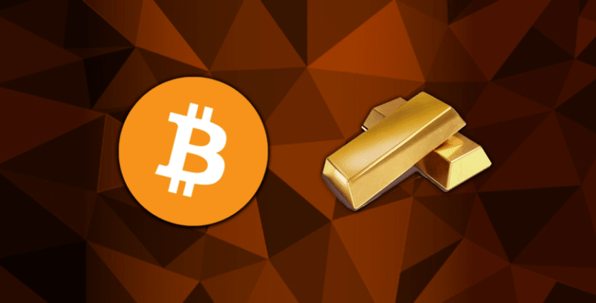 Bitcoin logo next to gold bars with orange and brown triangle background