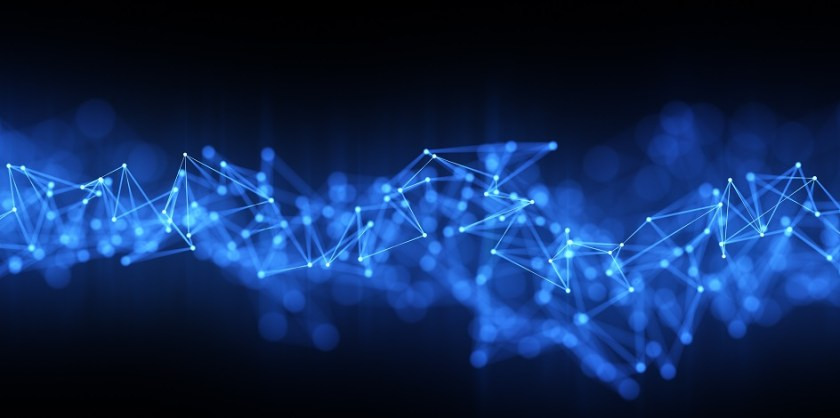 Blockchain graphic with blue and white nodes and black background