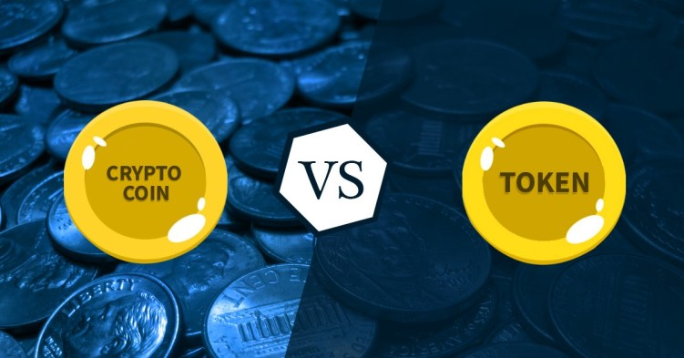 Cryptocurrency coins vs tokens image with split down the middle with blue background