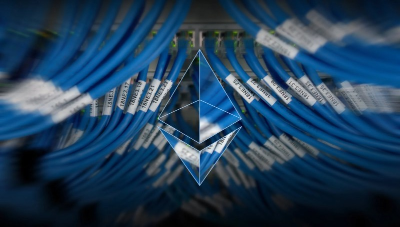 Ethereum logo in front of Cables with blur on the sides