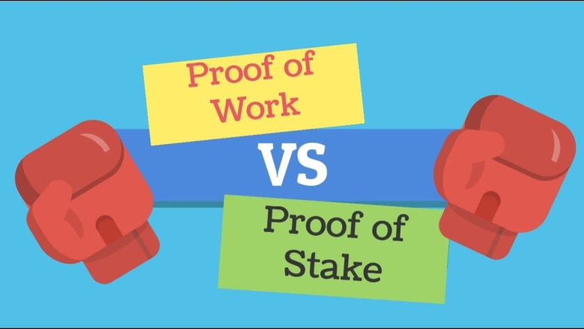 boxing gloves next to proof of stake and proof of work