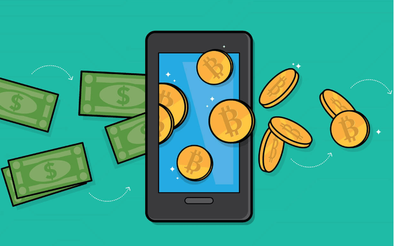 New Zealand dollars turning into Bitcoin through a phone with green background