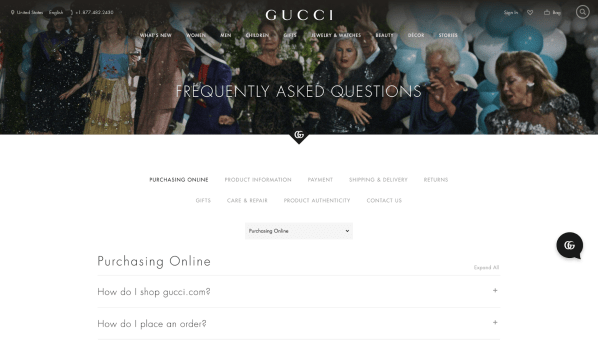 Gucci FAQ page
